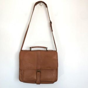Clava America tan leather shoulder bag briefcase